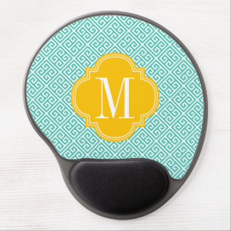 Girly Turquoise & Yellow Greek Key Pattern Custom Gel Mouse Pad