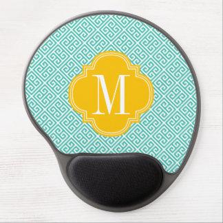 Girly Turquoise Yellow Greek Key Pattern Custom Gel Mousepads
