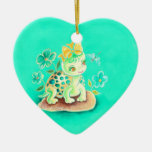 Girly Turtle Double-Sided Heart Ceramic Christmas Ornament