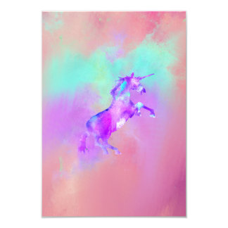 Girly Unicorn Cute Pink Teal Purple Watercolors 3.5x5 Paper Invitation Card