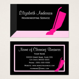 Housekeeping business cards templates zazzle girly vacuum pink and black housekeeping service business card reheart Choice Image