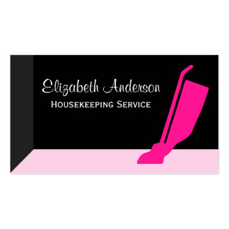 Girly Vacuum Pink and Black Housekeeping Service Double-Sided Standard Business Cards (Pack Of 100)