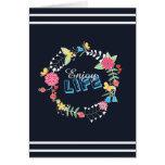 "girly vibrant floral circle ""Enjoy Life"" words Card"
