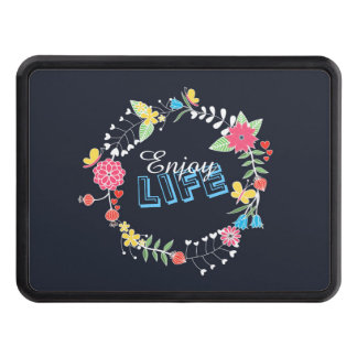 "girly vibrant floral circle ""Enjoy Life"" words Hitch Cover"