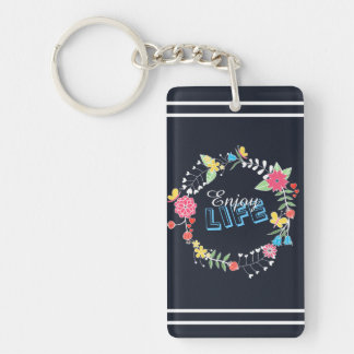 "girly vibrant floral circle ""Enjoy Life"" words Keychain"