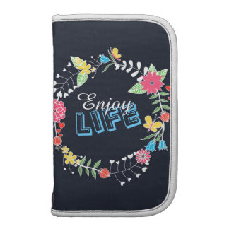"girly vibrant floral circle ""Enjoy Life"" words Planner"