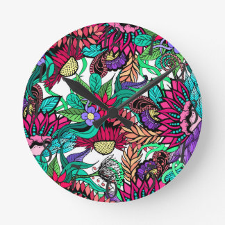 Girly Vibrant Flower Garden Illustrated Drawings Round Clock