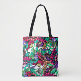 Girly Vibrant Flower Garden Illustrated Drawings Tote Bag