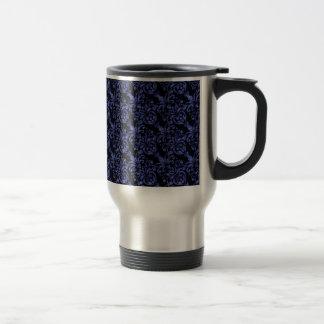 Girly Victorian Blue Glittery Damask Pattern Travel Mug