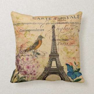 girly vintage bird paris eiffel tower throw pillow