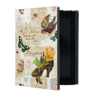 Girly Vintage Ephemera Fashion Collage With Name iPad Covers