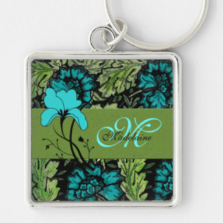 Girly Vintage Floral Blue and Green Monogrammed Silver-Colored Square Keychain