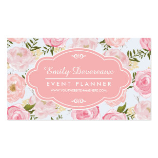 Girly Vintage Floral Pink Roses Peony Personalized Double-Sided Standard Business Cards (Pack Of 100)