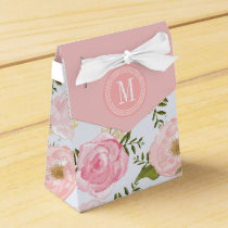 Girly Vintage Floral Pink Roses Peony Personalized Favor Box