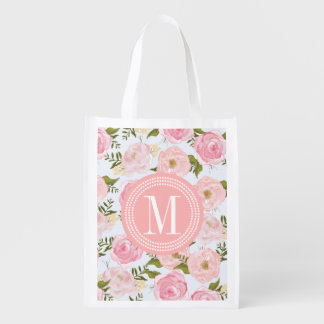Girly Vintage Floral Pink Roses Peony Personalized Grocery Bag