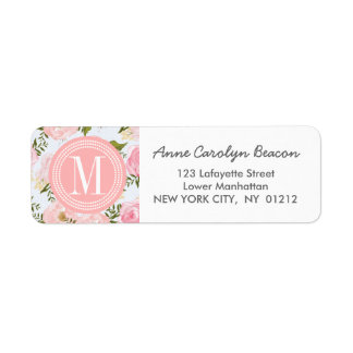 Girly Vintage Floral Pink Roses Peony Personalized Return Address Label
