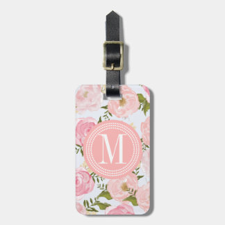 Girly Vintage Floral Pink Roses Peony Personalized Luggage Tag