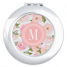 Girly Vintage Floral Pink Roses Peony Personalized Mirror For Makeup at Zazzle