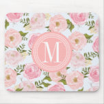 Girly Vintage Floral Pink Roses Peony Personalized Mouse Pad