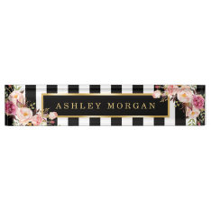 Girly Vintage Floral With Gold Black White Stripes Nameplate at Zazzle