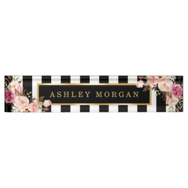 CardHunter Girly Vintage Floral with Gold Black White Stripes Nameplate