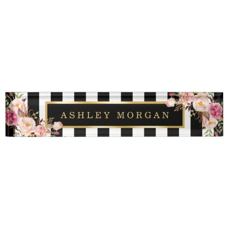 Girly Vintage Floral with Gold Black White Stripes Nameplate