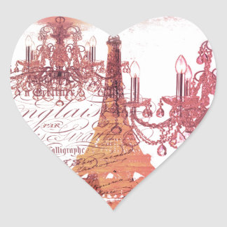 girly vintage French chandelier girly eiffel tower Heart Sticker