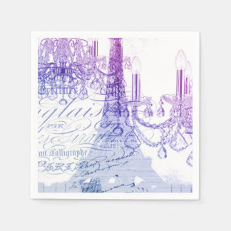 girly vintage French chandelier girly eiffel tower Paper Napkin