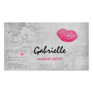 Girly Vintage Grunge Pink Lips Kiss Makeup Artist Double-Sided Standard Business Cards (Pack Of 100)
