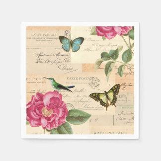 Girly vintage paper napkins w/ bird & butterflies