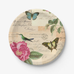 Vintage Butterfly Floral Plates | Zazzle