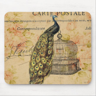 girly vintage paris peacock floral fashion mouse pad