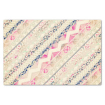 Girly Vintage Pink Floral Abstract Aztec Pattern Tissue Paper