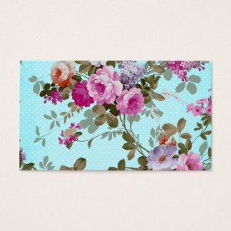 Girly Vintage Pink Floral Teal Trendy Polka Dots Business Card