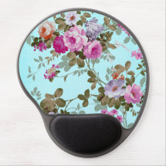 Girly Vintage Pink Floral Teal Trendy Polka Dots Gel Mouse Pad at Zazzle