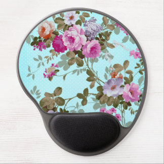 Girly Vintage Pink Floral Teal Trendy Polka Dots Gel Mouse Pad
