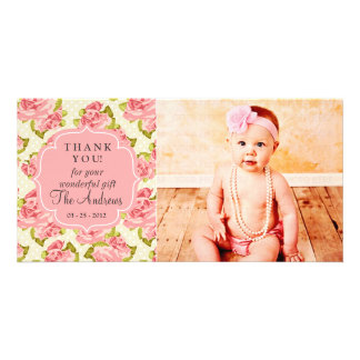 Girly Vintage Pink Roses Any Occasion Thank You Photo Card