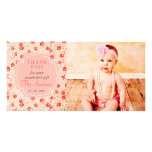 Girly Vintage Pink Roses Any Occasion Thank You Photo Greeting Card