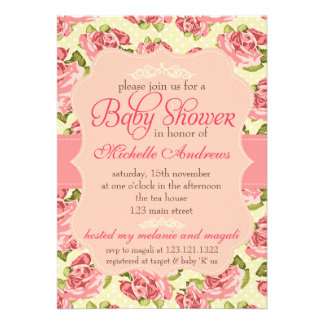 Girly Vintage Pink Roses Baby Shower Custom Announcement