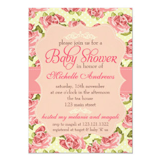 Girly Vintage Pink Roses Baby Shower 5x7 Paper Invitation Card