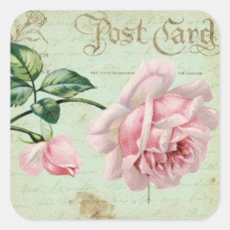 Girly Vintage Pink Roses Elegant Floral Cottage Square Sticker