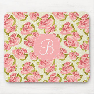Girly Vintage Pink Roses Monogrammed Mousepad