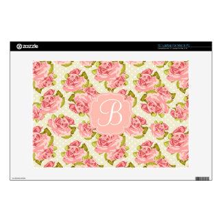 "Girly Vintage Pink Roses Monogrammed Decals For 13"" Laptops"