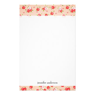 Girly Vintage Pink Roses Personalized Stationery