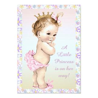 Girly Vintage Princess Floral Baby Shower Card