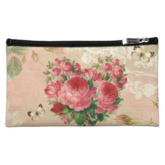 Girly Vintage Rose Heart Collage Cosmetics Bags