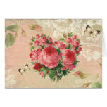 Girly Vintage Rose Heart Collage Greeting Card