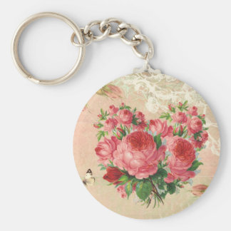 Girly Vintage Rose Heart Collage Keychain