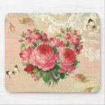 Girly Vintage Rose Heart Collage Mouse Pad
