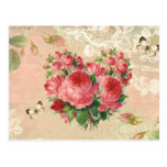 Girly Vintage Rose Heart Collage Postcard